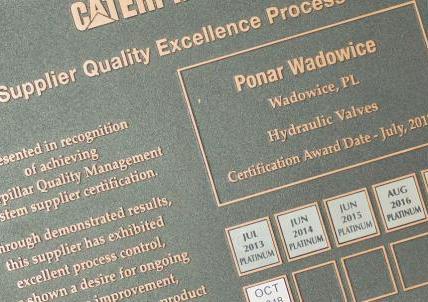6. raz z rzędu - Platynowy Certyfikat Caterpillara