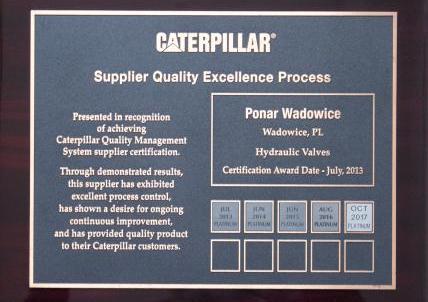Platynowy Certyfikat Caterpillar już po raz 5.z rzędu